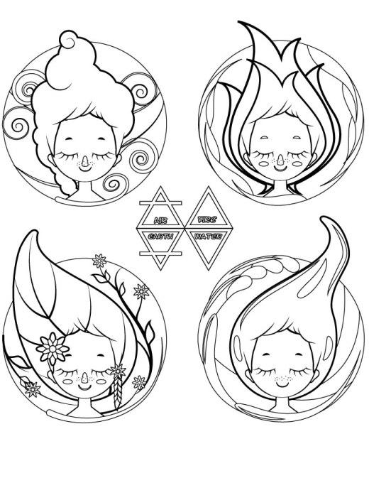 Les 4 éléments mignonnes fillettes a colorier