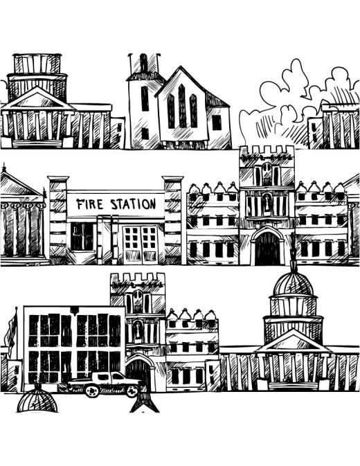Sketch de ville coloriage pour adulte à imprimer