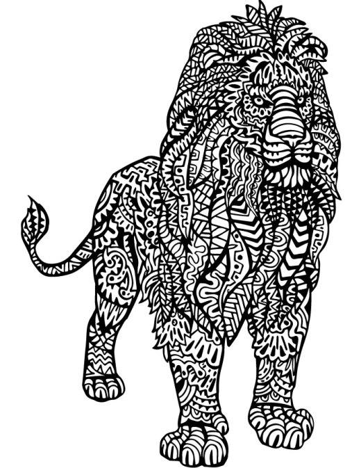 Lion dessin à imprimer et colorier pour adulte