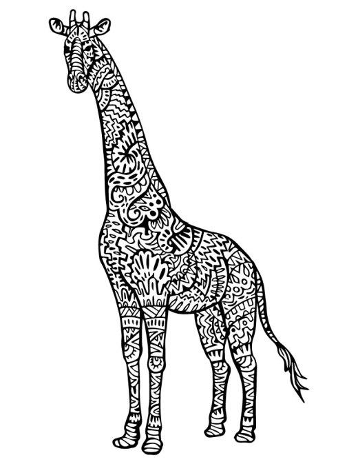 Coloriage girafe mandala tattoo animal à imprimer