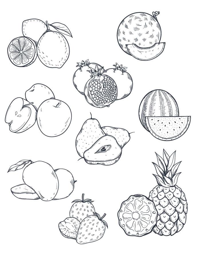 Fruits coloriage a imprimer et dessiner artherapie