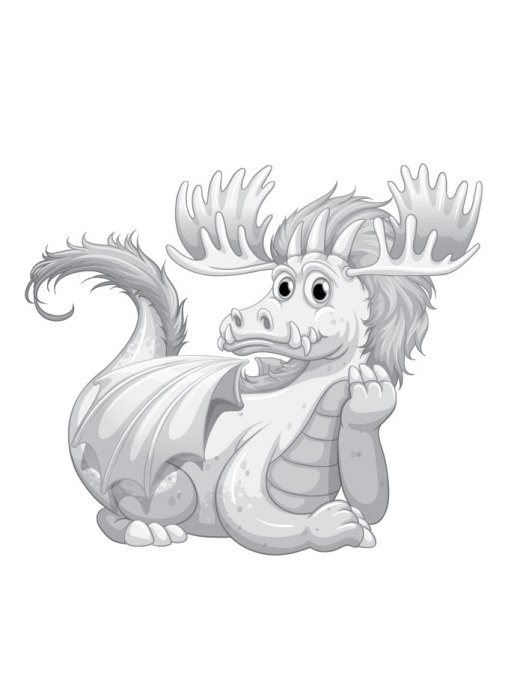 Dragon coloriage en ligne adulte page grayscale