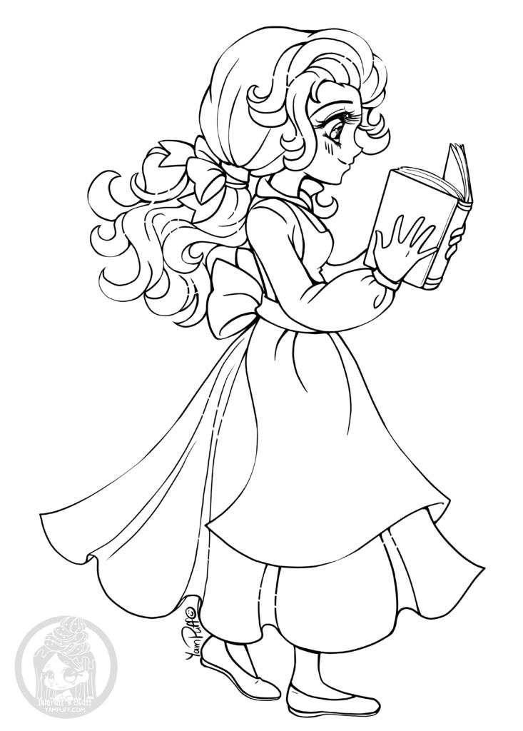 La belle et la bete princesse coloriage