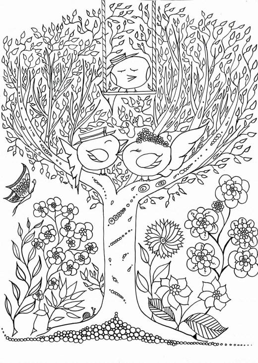 Coloriage zen adulte les zoziaux de Leen Margot à imprime