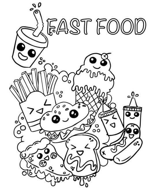 Coloriage emoji fast food adorable à imprimer
