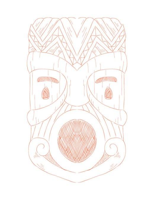 Coloriage adulte à imprimer Tiki mask colours