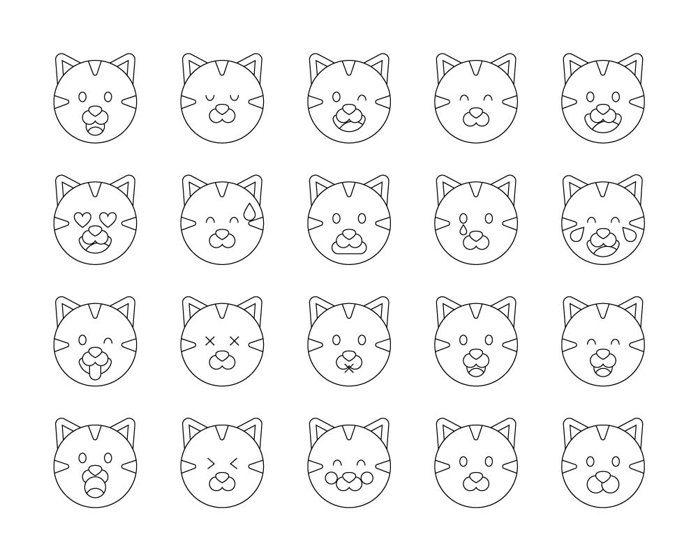 Coloriage Emoji Difficile.Mignon Coloriage Emoji Chat A Imprimer Gratuit Artherapie Ca