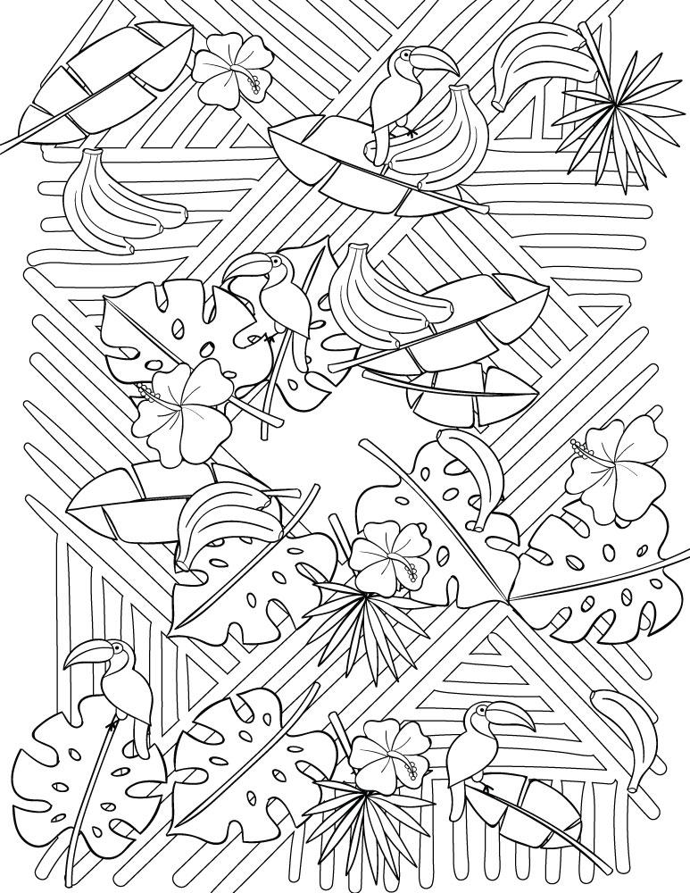 Artherapie jeux coloriage tropical à imprimer pour adulte