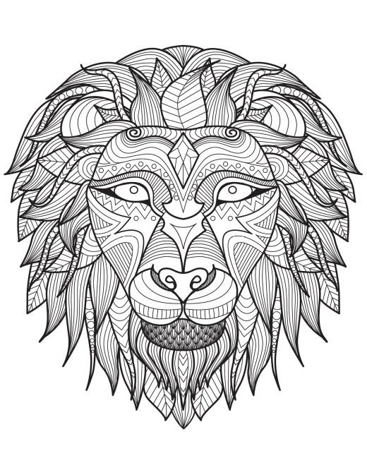 Lion dessin difficile art thérapie bestiaire à imprimer