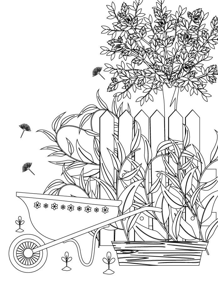 Votre jardin art thérapie dessin image a colorier pour adulte