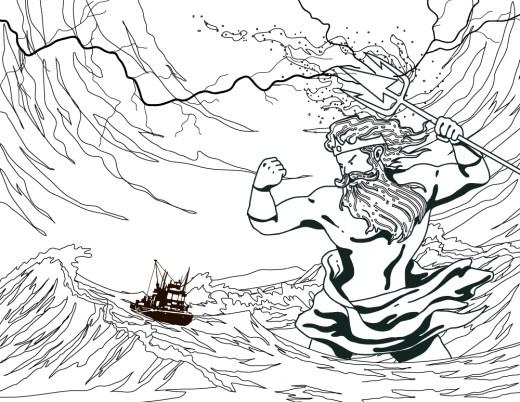 Dessins a dessiner Poseidon dieu grec des océans