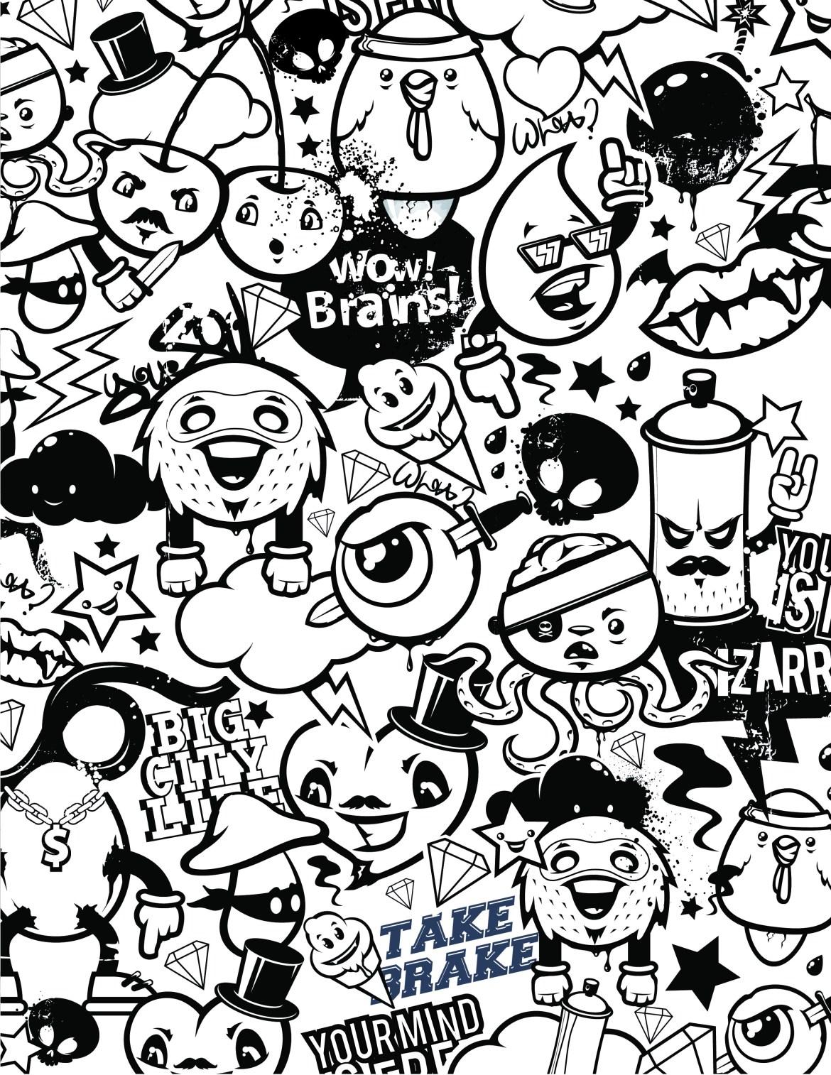 Graffiti coloriage emoji gestion du stress à dessiner gratuit