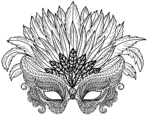Coloriage difficile à imprimer masque à plumes