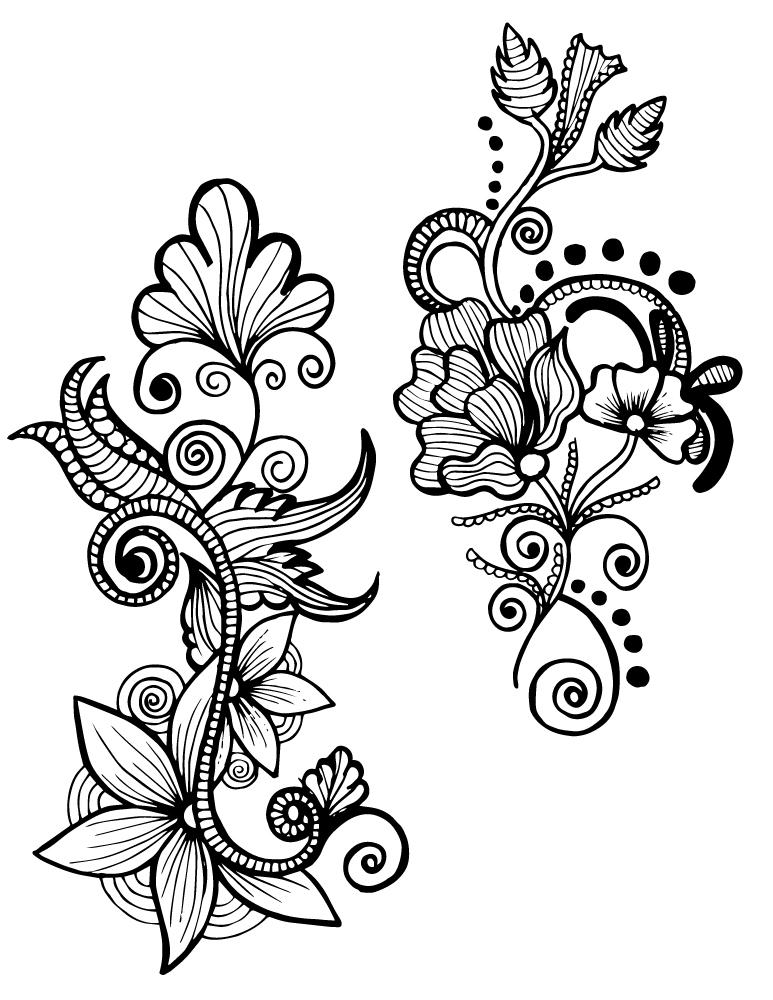 Zendoodle délicates fleurs imprimer dessin adulte ...
