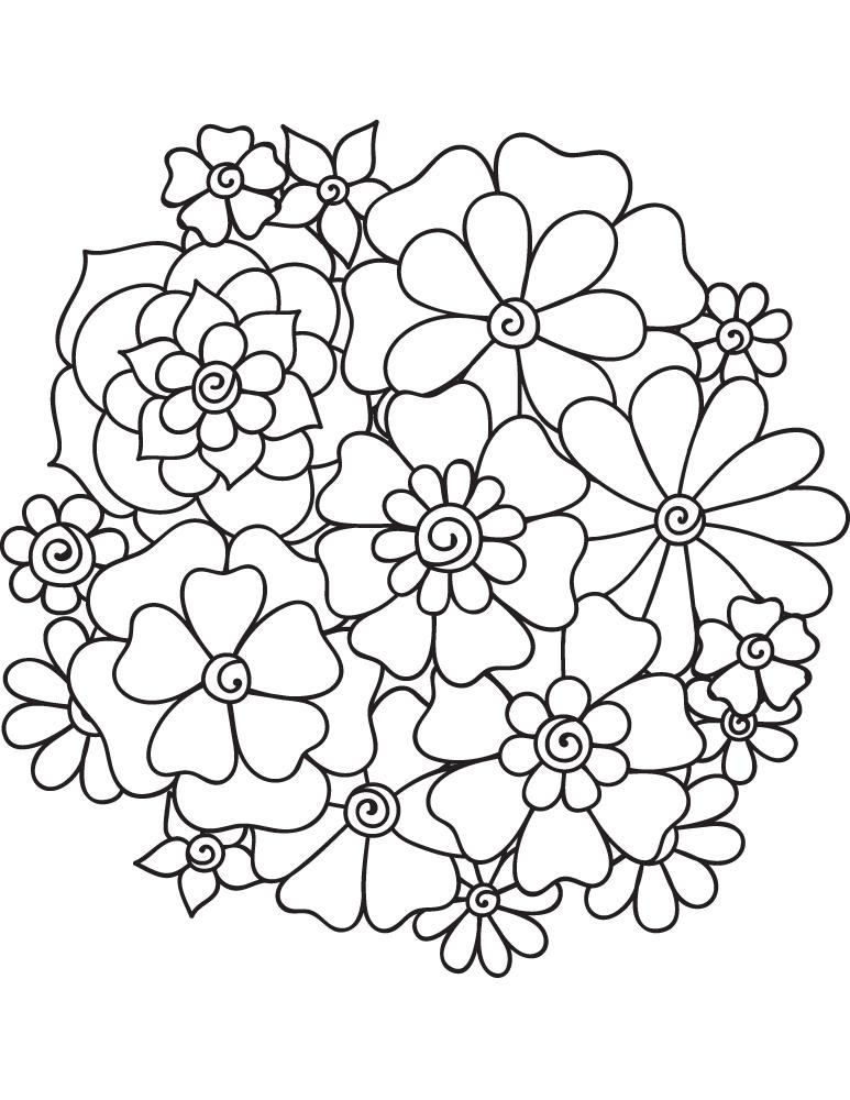Mandala fleurs coloriage enfant imprimer gratuit - Coloriage fleur edelweiss ...