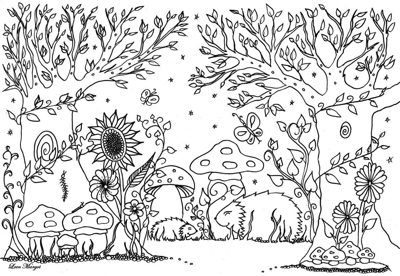 Joli hérisson art thérapie bestiaire à dessiner de Leen Margot