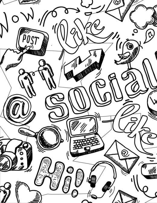 Typographie social Facebook Twitter dessin gratuit à imprimer