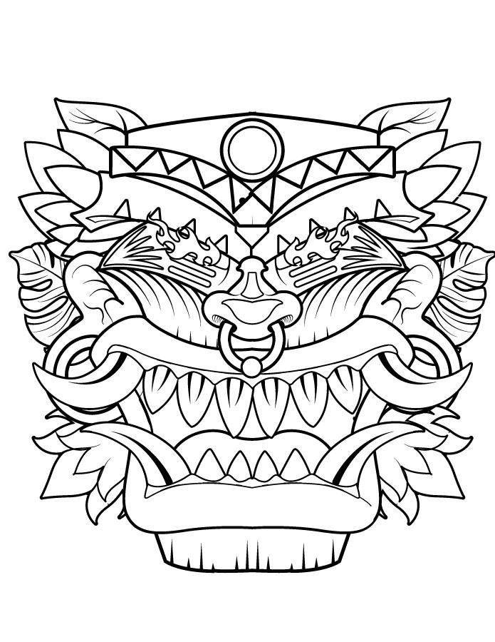 Masque tiki coloriage gratuit imprimer pour Halloween - Artherapie.ca