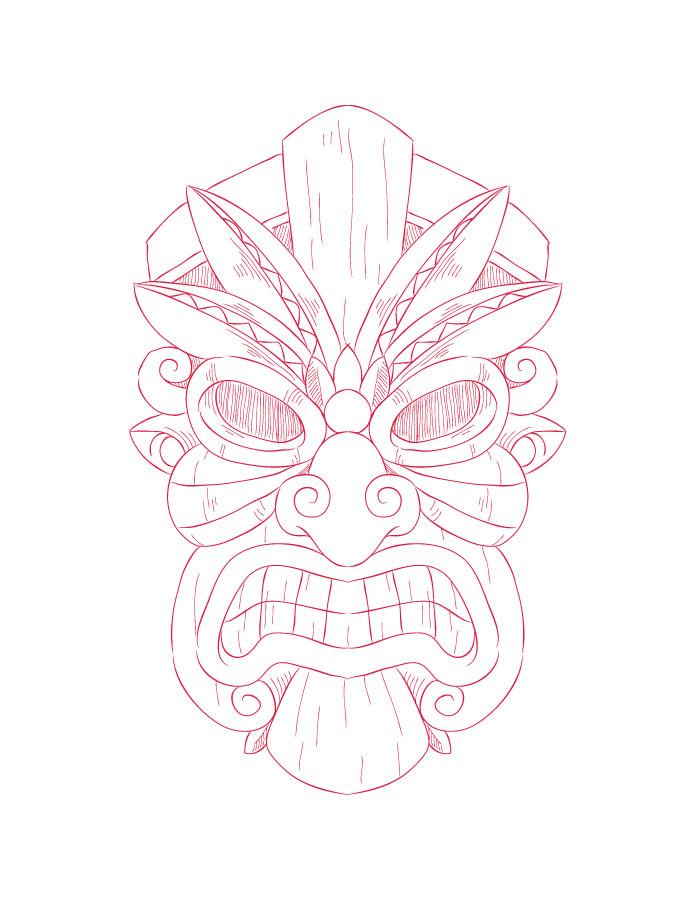 Imprimer des coloriages masque tiki pour adulte