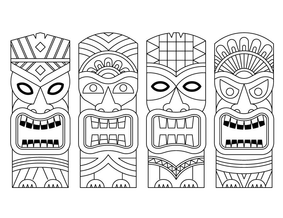 Statues Tiki Coloriage En Ligne Gratuit A Imprimer Artherapie Ca