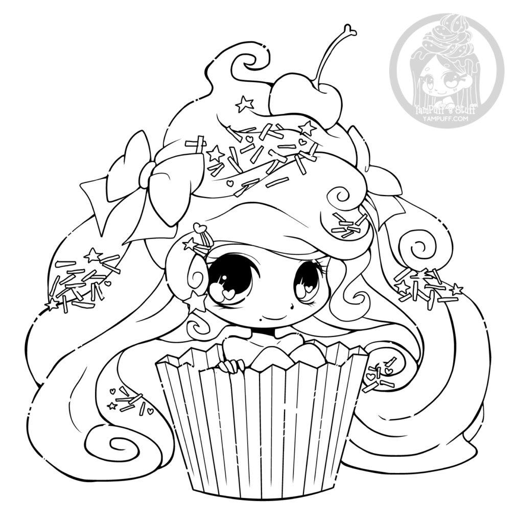Chibi cupcake par YamPuff coloriage gratuit imprimer