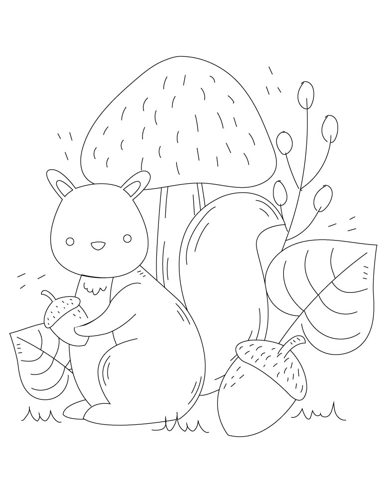 Écureuil à dessiner coloriage enfant à imprimer gratuit