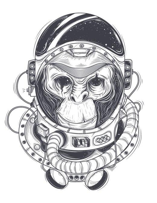 Singe astronaute coloriage gratuit galaxie à imprimer