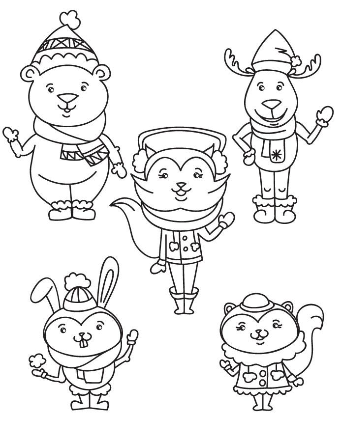 Coloriage animaux joie de l 39 hiver dessiner - Dessin de l hiver ...