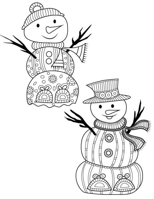 Bonhomme de neige coloriage à imprimer difficile
