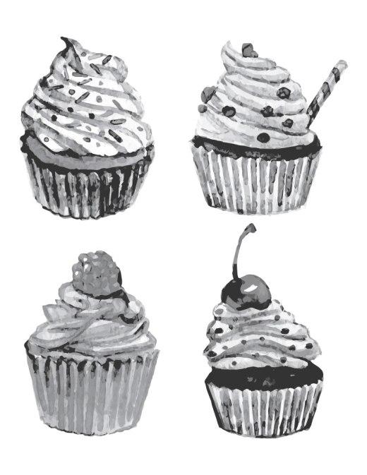 Imprimer dessin grayscale cupcake gratuit
