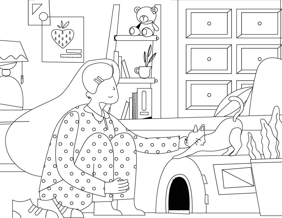 Coloriage chat artherapie antistress à imprimer