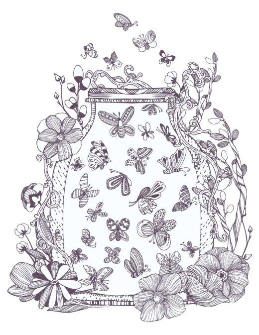 Coloriage pour adulte papillon par Gluiki