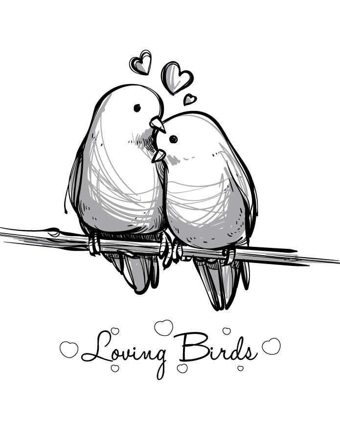 Coloriage St Valentin Love Bird Imprimer Carte Artherapie Ca