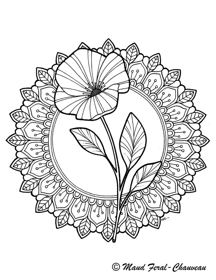 Délicate fleur dessin mandala par Maud Feral - Artherapie.ca