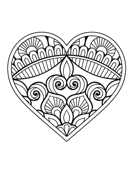 Coloriage st Valentin coeur dessin a imprimer
