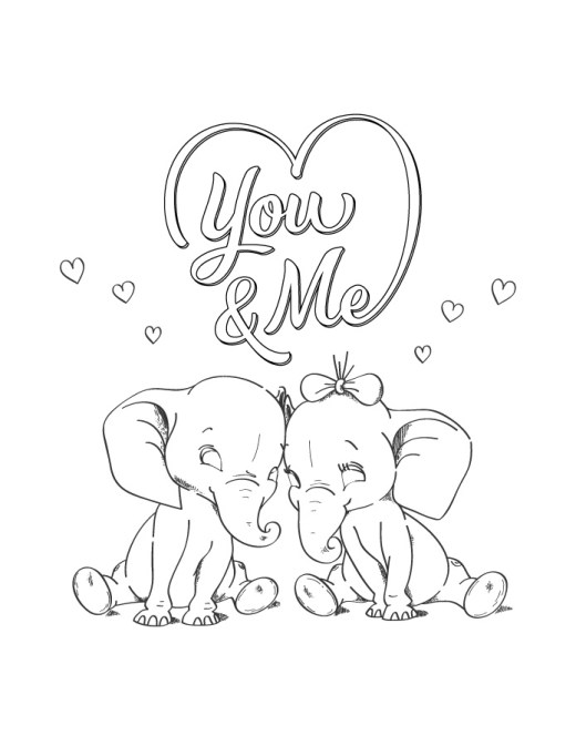 You and me st Valentin coloriage a imprimer