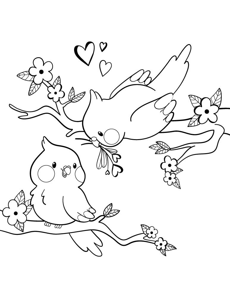 Oiseaux de la Saint-Valentin à dessiner