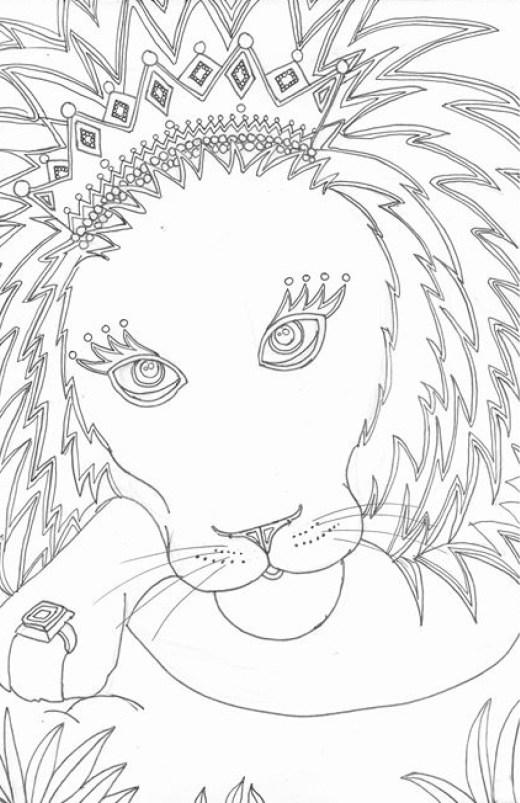 Roi lion à colorier par Marie Claude Fontaine