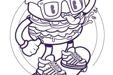 Drole hamburger coloriage gratuit enfant