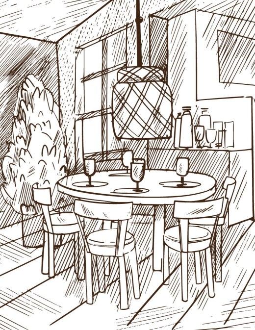 Image à colorier restaurant gratuit