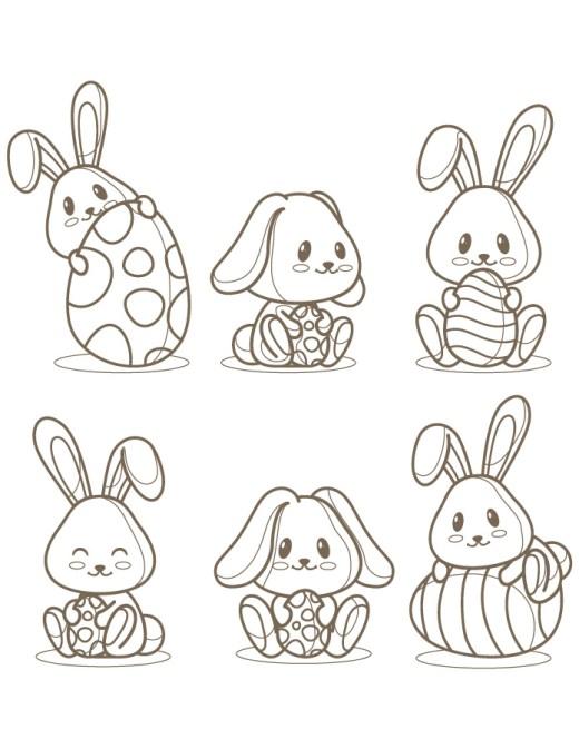 Adorables lapins de Pâques à imprimer