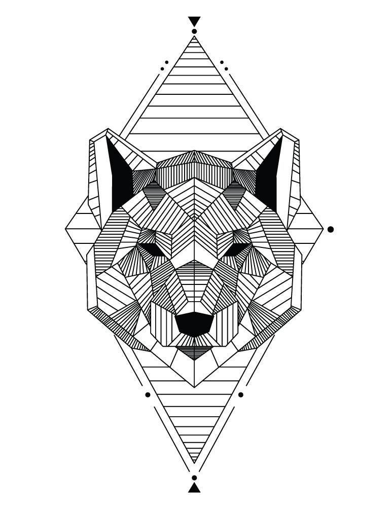 Coloriage animaux géométrie ours à imprimer
