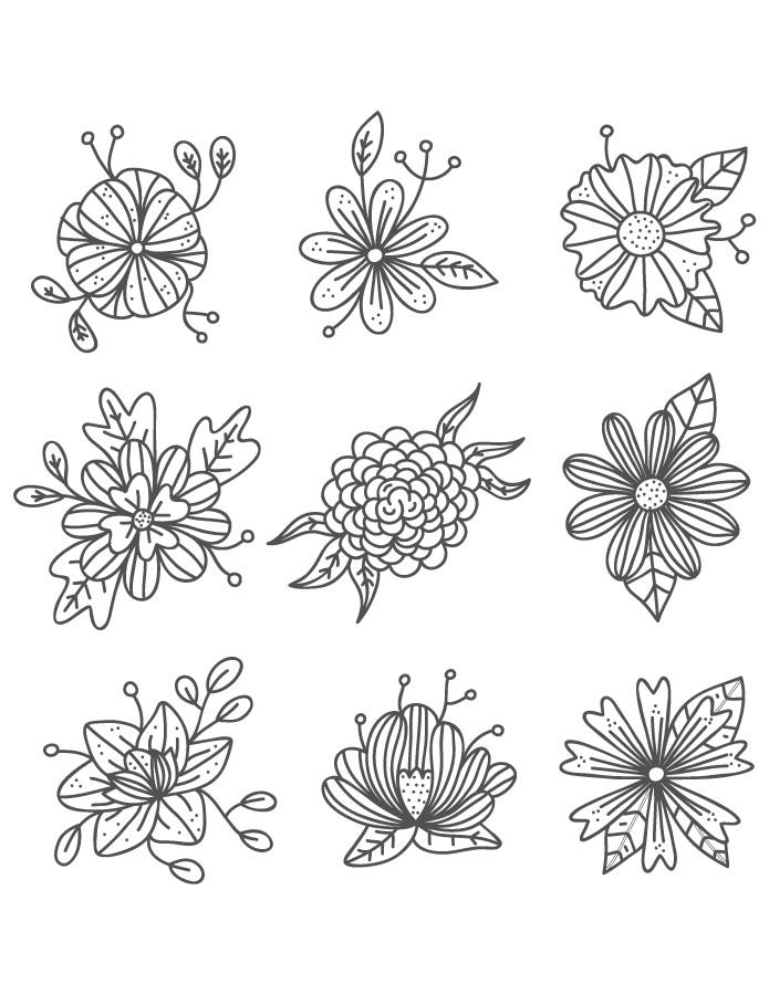 Délicates fleurs à dessiner gratuitement