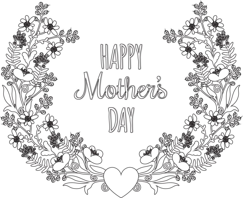 Joyeuse fêtes des mères à colorier