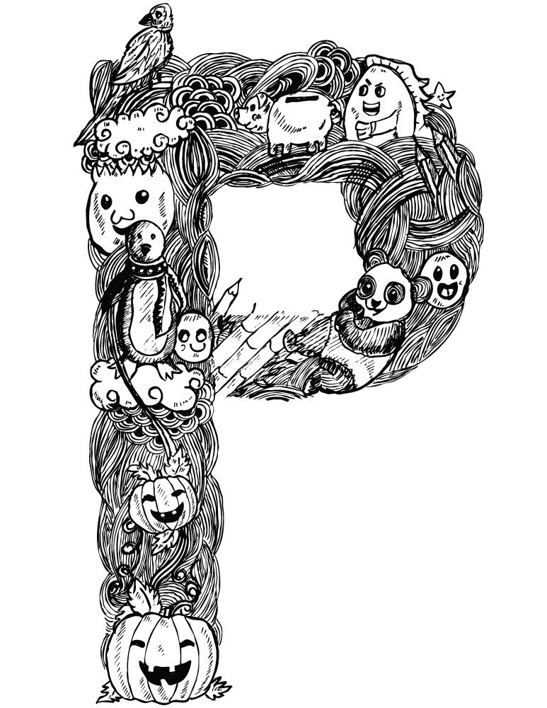 Doodle affiche lettre P pour imprimer