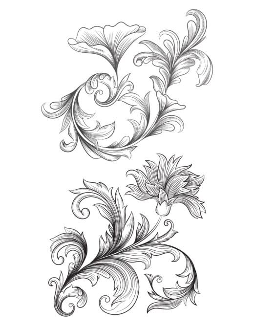 Fleurs baroque dessin artherapie adulte