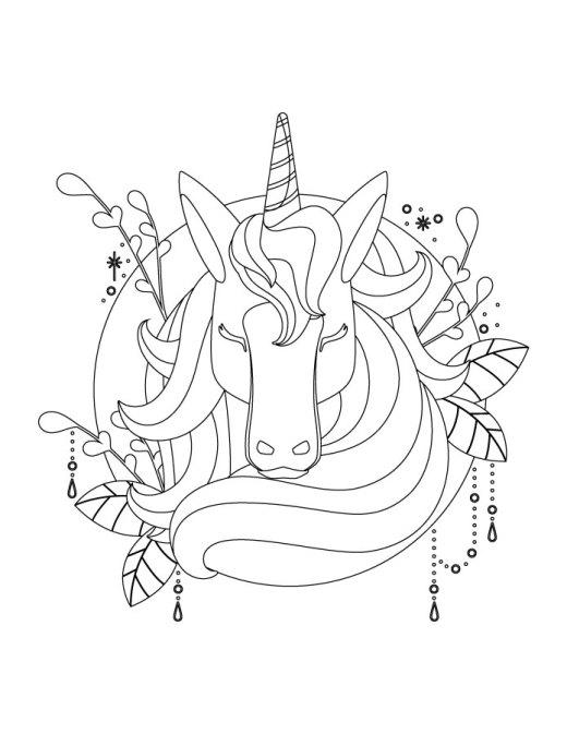 Mystérieuse licorne coloriage artherapie
