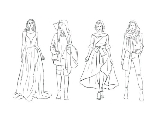 Dessin de mode femme automne