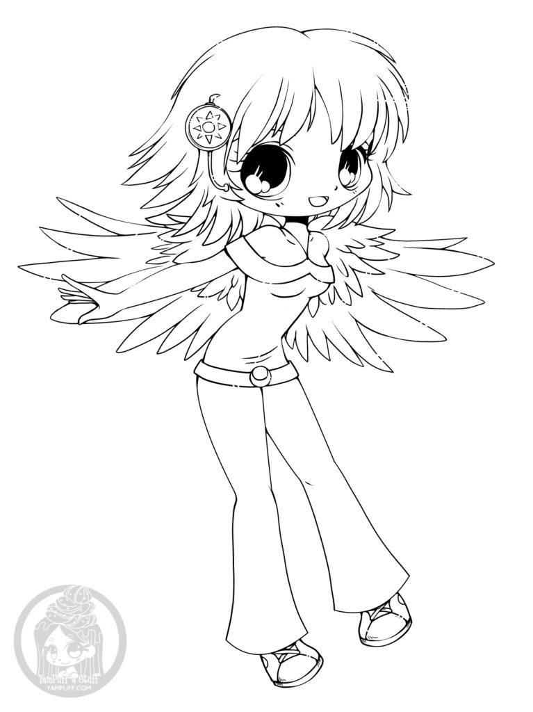 Coloriage fille kawaii dessin en ligne