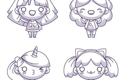 Coloriage fille kawaii manga à imprimer